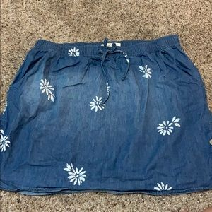 Floral Jean Mini Skirt